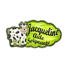 Badge en bois Vache