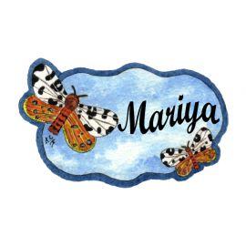 Badge en bois Papillons bleus