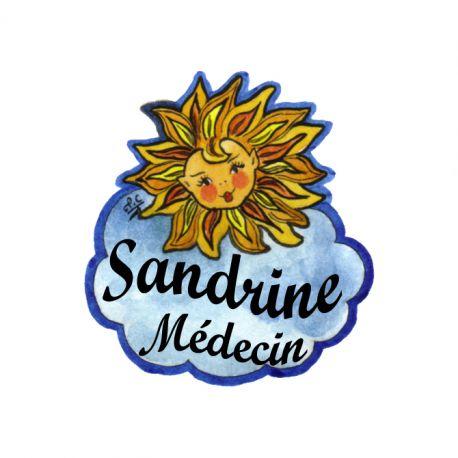 Badge en bois Soleil