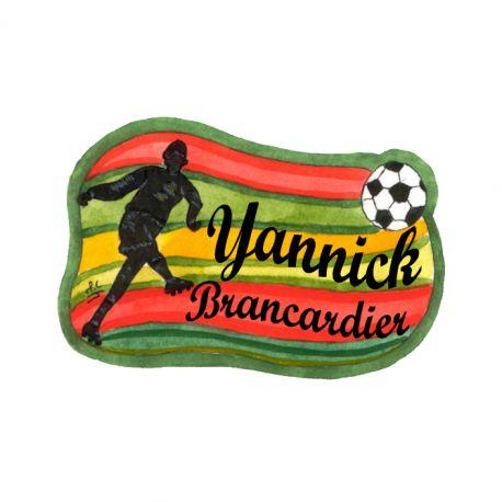 Badge en bois Footballeur