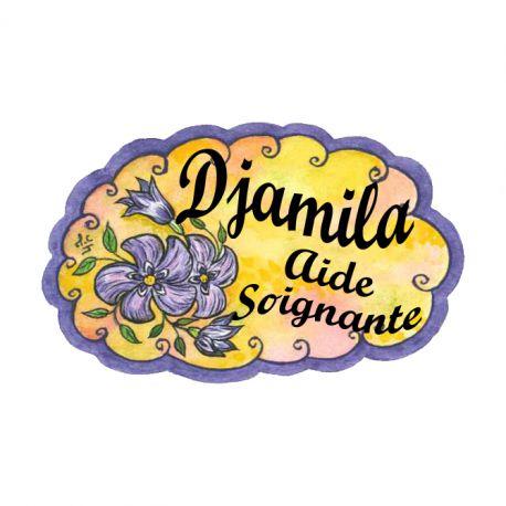 Badge en bois Violettes