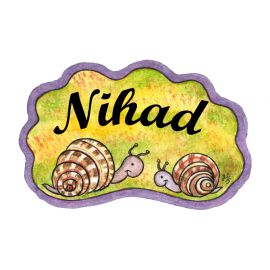 Badge en bois Escargots