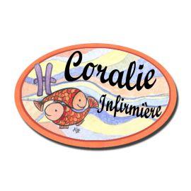 Badge Métal Poisson Zodiaque