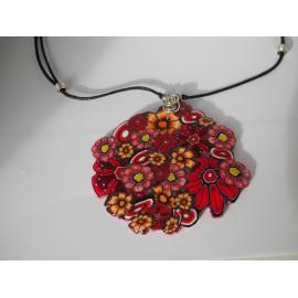 Collier Fleurs Rouges